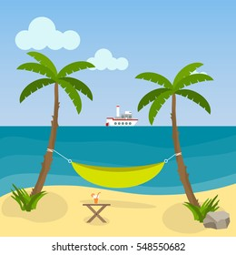 Hammock between palm trees on the beach. Flat design, vector illustration. Vector.