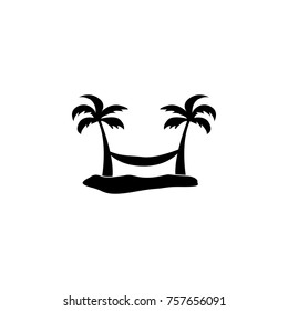 hammock between two palm trees icon on white background