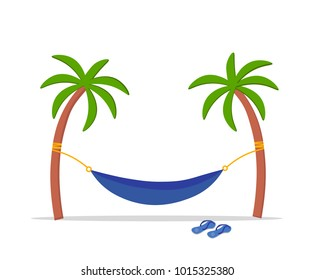 A hammock hanging in the middle of two palms. Concept of summer holidays, rest. Sandals near the hammock. Background of tropical trees and sea. Downshifting. Flat vector. Isolated on white background.
