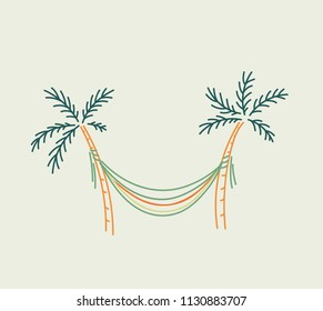Hammock hung between two palms sketch in linear style in muted pastel colors vector illustration