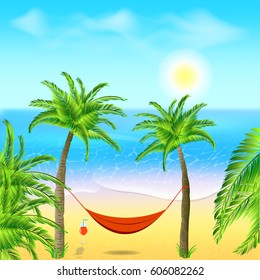 Hammock with palm trees on beach. Cocktail near the hammock. Tropical background with ocean. Vector illustration.