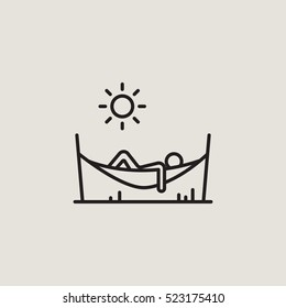 Hammock Relax Outline Vector Icon