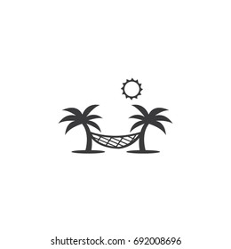 Hammock summer relaxing vector icon