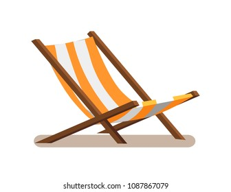 Hammock-chair with stripes, lounge seat of yellow and white color, wooden empty sunbed chaise-longue isolated on vector illustration, daybed icon