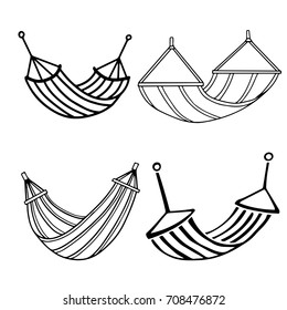 Hammocks set. Black line, hand drawn isolated on white background