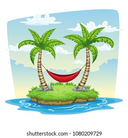 Hammrock between two palm trees, summer nature background