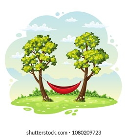 Hammrock between two trees, summer nature background
