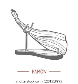 Hamon. Traditional Spanish Food in Hand Drawn Style for Surface Design Fliers Banners Prints Posters Cards. Vector Illustration