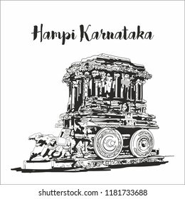 Hampi Karnataka india. sketch vector illustration