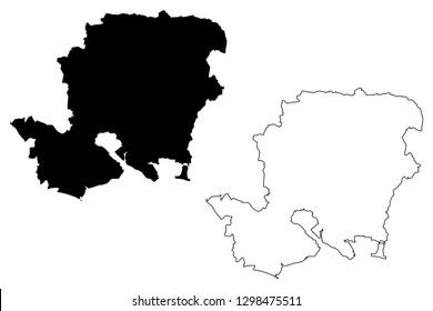 Hampshire (United Kingdom, England, Non-metropolitan county, shire county) map vector illustration, scribble sketch Hampshire (Hants) map
