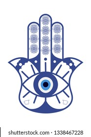 Hamsa or Fatima Hand with Evil Eye Nazar isolated. Hamsa Amulet or the Hand of Fatima protection charm vector illustration.
