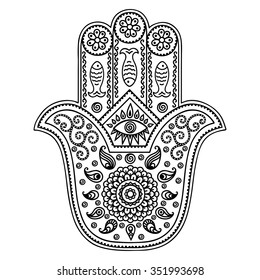 """Hamsa hand drawn symbol. Decorative pattern in oriental style for interior decoration and henna drawings. The ancient sign of """"Hand of Fatima""""."""