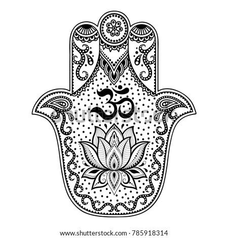 hamsa hand drawn symbol mantra om stock vector royalty free