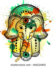 Hamsa hand and the elephant image. Hand of Fatima, vector illustration watercolor drawing
