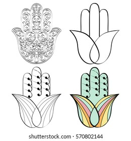 Hamsa hand, Hand of Fatima - amulet, symbol of protection from devil eye.Vector Indian hand drawn hamsa with ethnic ornaments
