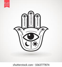Hamsa, hand of Fatima, Hamsa or hand of Fatima, good luck charm, eps10 . Vector Indian hand drawn hamsa symbolvector illustration.