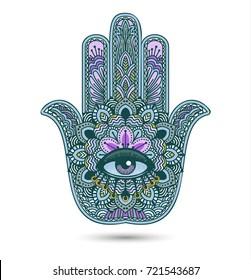 Hamsa or hand of Fatima, good luck charm, eps10 vector