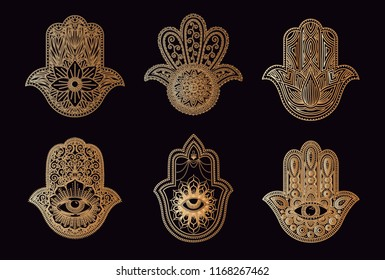 Hamsa or Hand of Fatima Icon. Arabic and Jewish protection amulet. Vector illustration. Mystic, alchemy, occult concept. .