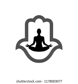 Hamsa or Hand of Fatima Icon. Arabic and Jewish protection amulet. Vector illustration. Mystic, alchemy, occult concept.