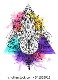 Hamsa, hand of Fatima. Sketch vector illustration. Boho style. Us for tattoo, print for t-shirt, card.