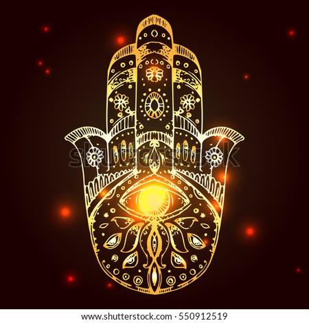 ae8e6f32 Hamsa, hand of Fatima. Sketch vector illustration. Boho style. Us for  tattoo, print for t-shirt, card. - Vector