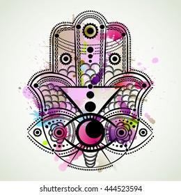 Hamsa hand. Hand of Fatima, vector illustration