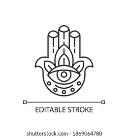 Hamsa Hand linear icon. God hand. Eye in middle. Protection against evil eye. Luck, good fortune. Thin line customizable illustration. Contour symbol. Vector isolated outline drawing. Editable stroke