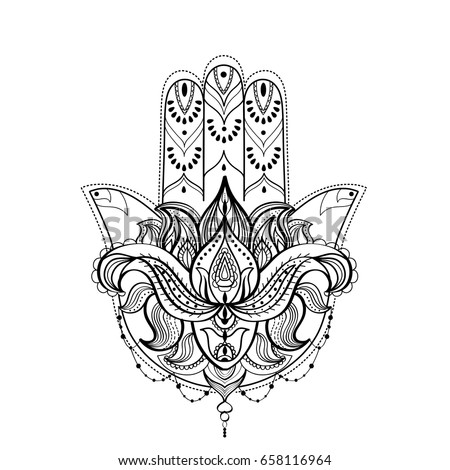 Hamsa Hand Lotus Flower Black White Stock Vector Royalty Free