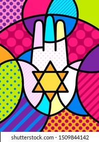 HAMSA HAND Pop Art pop-art modern illustration for your design. Conceptual idea, geometrical background. Colourful trendy icon. Hand of Fatima religious sign.