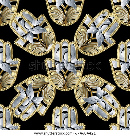 Hamsa Hand Seamless Pattern Floral Black Background Wallpaper With White 3d Flowers And