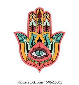 Hamsa hand talisman. Fatima's hand lucky charm. Vector illustration.