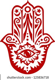 Hamsa hand - vector image / Hand of Fatima / protection amulet, symbol of strength and happiness