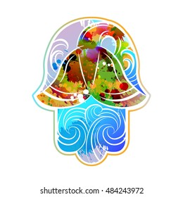Hamsa hand. Vector image of a whale's tail above the waves of the sea. Hand of Fatima, vector illustration watercolor painting in the style of boho