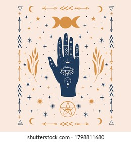 Hamsa Hands graphic illustration with mystical and occult hand drawn symbols like triple goddess moon, pentacle, evil eye. Vector illustration. Halloween,wicca, astrological and esoteric concept.