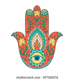 Hamsa henna tattoo with ethnic ornament. Colorful indian pattern. Illustration in zentangle style.