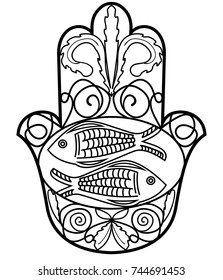 Hamsa, Miriam hand symbol with floral ornament and two fishes. Symbol of protection. Monochrome drawing, monoline black outline. Vector EPS 10