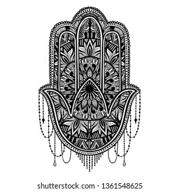 Hamsa talisman religion Asian. Black color graphic in white background. Symbol of protection and talisman against the evil eye.Tattoo motif.Vector illustration