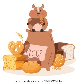 Hamster eat flour, small pest, rodent, flour, bread, isolated on white, flat vector illustration. Bakery product, bread product, cake. Cute character hamster sit on flour bag, rye.