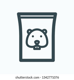 Hamster food outline icon, hamster pack of food isolated vector icon
