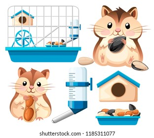 Hamster icon collection. Cute hamster sit and holding a sunflower seed, and nut. Hamster cage, wheel and automatic drinker. Cartoon character design. Flat vector illustration on white background.