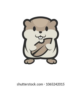 Hamster Rodents Pet Cute and Funny Cartoon Illustration