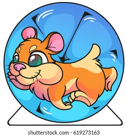 Hamster running in blue wheel, funny, cute, cartoon rodent, illustration, artwork.
