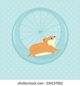 Hamster running in a wheel. Vector illustration.
