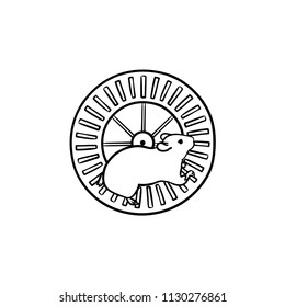 Hamster wheel hand drawn outline doodle icon. Running wheel as fun device for rodents animals concept. Vector sketch illustration for print, web, mobile and infographics on white background.