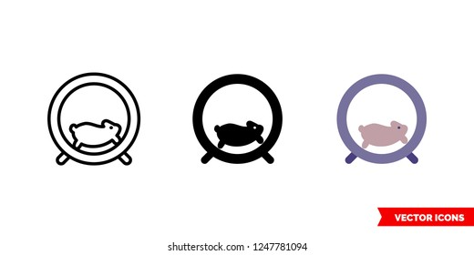 Hamster wheel icon of 3 types: color, black and white, outline. Isolated vector sign symbol.