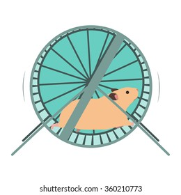 Hamster in a wheel vector illustration.