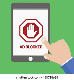 Han using tablet with ad blocker screen. Security and anti pop ups concept.