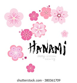 """Hanami. Custom of cherry-blossom viewing in Japan. Card design with sakura flowers flat icons scattered around hand drawn lettering """"Hanami"""" with rough edges made by dry brush."""