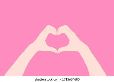 hand are act like heart on the pink background. valentine, encouragement, love, donate, care concept. Illustration vector.