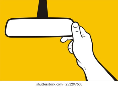 Hand adjusting rear-view mirror